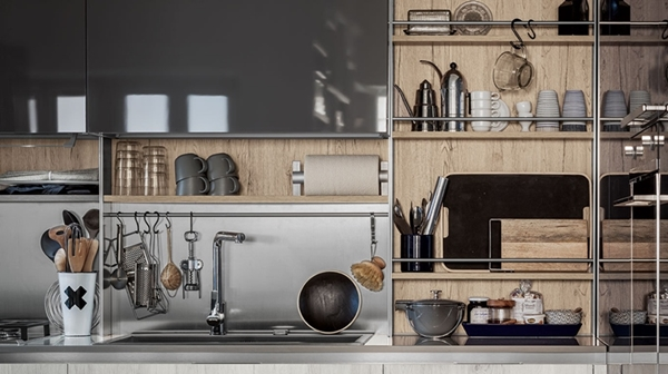 Stepsystem from Veneta Cucine is a shelf that takes up otherwise unused wall space.